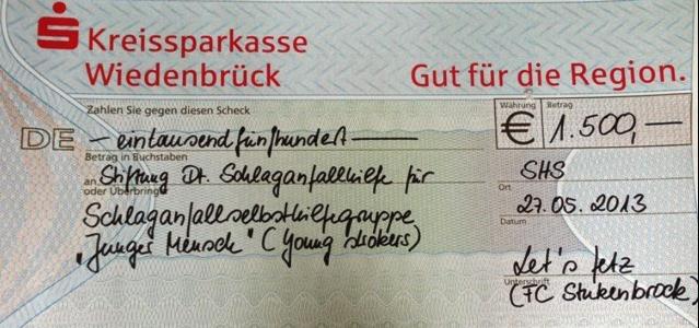 "Offizielle Spendenübergabe Der Stukenbrocker Tanzgruppe ""lets Fets"""